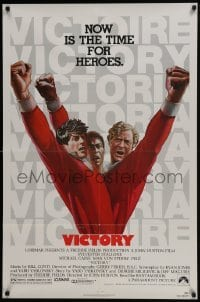 4z947 VICTORY 1sh 1981 Huston, cast art of soccer players Stallone, Caine & Pele by Jarvis!