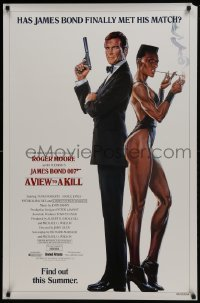 4z948 VIEW TO A KILL advance 1sh 1985 art of Roger Moore & Jones by Goozee over white background!