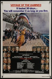 4z951 VOYAGE OF THE DAMNED 1sh 1976 Faye Dunaway, Max Von Sydow, Richard Amsel art of cast!