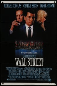 4z952 WALL STREET 1sh 1987 Michael Douglas, Charlie Sheen, Daryl Hannah, Oliver Stone!
