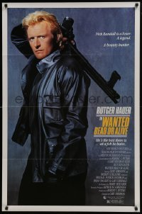 4z953 WANTED DEAD OR ALIVE 1sh 1987 Rutger Hauer is the best there is at a job he hates!
