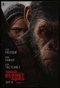 4z954 WAR FOR THE PLANET OF THE APES style B teaser DS 1sh 2017 close-up of Caesar and Amiah Miller!