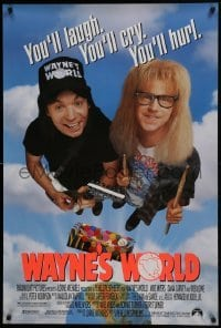 4z959 WAYNE'S WORLD 1sh 1991 Mike Myers, Dana Carvey, one world, one party, excellent!