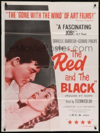 5a012 RED & THE BLACK 30x40 1958 Le rouge et le nour, c/u of Danielle Darrieux & Gerard Philipe!
