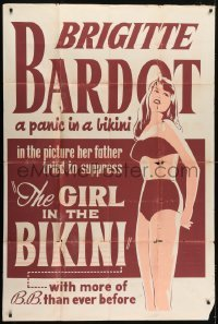 5a041 GIRL IN THE BIKINI 40x60 1958 sexy Brigitte Bardot is a panic in a skimpy swimsuit, rare!