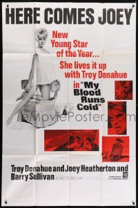 5a043 MY BLOOD RUNS COLD 40x60 1965 here comes Joey Heatherton, new young star of the year, rare!