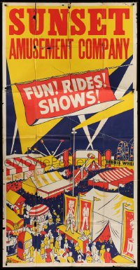 5a002 FUN! RIDES! SHOWS! 42x84 circus poster 1950 great colorful carnival artwork!