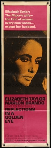5a019 REFLECTIONS IN A GOLDEN EYE door panel 1967 portrait of Elizabeth Taylor, The Major's wife!