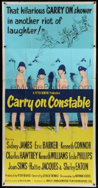 5a059 CARRY ON CONSTABLE English 3sh 1961 Sidney James, wacky naked English cops in the shower!