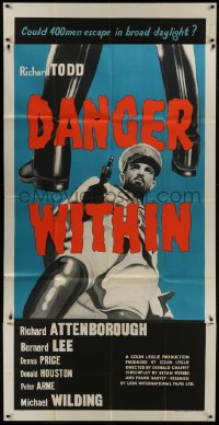 5a060 DANGER WITHIN English 3sh 1959 could 400 men escape in broad daylight during World War II!
