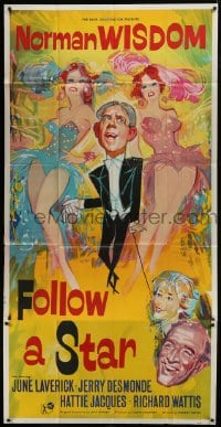 5a062 FOLLOW A STAR English 3sh 1959 artwork of wacky Norman Wisdom between two sexy girls!