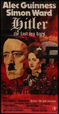 5a065 HITLER: THE LAST TEN DAYS English 3sh 1973 Alec Guinness as Adolf, Kunstmann as Braun, rare!