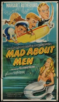5a071 MAD ABOUT MEN INCOMPLETE English 3sh 1954 art of sexy mermaid Glynis Johns & co-stars on boat!
