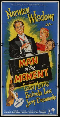 5a072 MAN OF THE MOMENT English 3sh 1955 art of Norman Wisdom, Lana Morris & Belinda Lee!