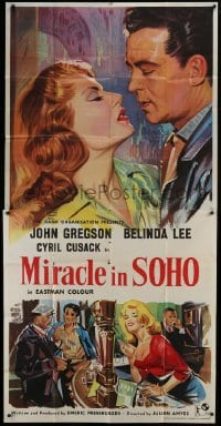5a073 MIRACLE IN SOHO English 3sh 1957 John Gregson, sexy Belinda Lee, Emeric Pressburger, rare!