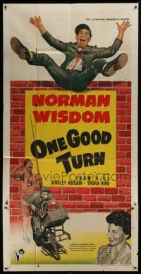 5a074 ONE GOOD TURN English 3sh 1954 Norman Wisdom, bad man wants to destroy orphanage, rare!
