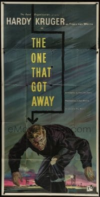 5a075 ONE THAT GOT AWAY English 3sh 1957 art of Hardy Kruger escaping POW camp in WWII, rare!