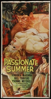 5a076 PASSIONATE SUMMER English 3sh 1958 art of Virginia McKenna & Bill Travers in island romance!
