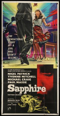 5a077 SAPPHIRE English 3sh 1959 Basil Dearden mystery, Yvonne Mitchell, a girl who didn't belong!