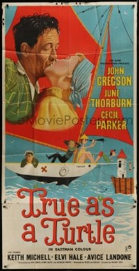5a082 TRUE AS A TURTLE English 3sh 1956 art of John Gregson & Thorburn kissing on sailboat, rare!