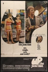 5a050 UP THE JUNCTION English 40x60 1968 pregnant Suzy Kendall, it's rough, raw & randy, rare!