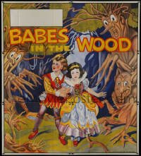 5a051 BABES IN THE WOOD stage play English 6sh 1930s Tenggren-like art of kids & menacing trees!
