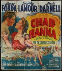 5a052 CHAD HANNA English 6sh 1940 Henry Fonda with beautiful Dorothy Lamour & Linda Darnell, rare!