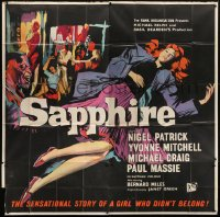 5a054 SAPPHIRE English 6sh 1959 Basil Dearden murder mystery about a girl who didn't belong!