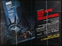 5a024 ESCAPE FROM NEW YORK subway poster 1981 Carpenter, Jackson art of decapitated Lady Liberty!