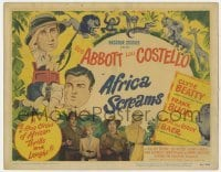 5b014 AFRICA SCREAMS TC 1949 great art of Bud Abbott & Lou Costello in jungle with animals!