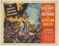 5b003 AFRICAN QUEEN TC 1952 colorful artwork of missionary Katharine Hepburn in native uprising!