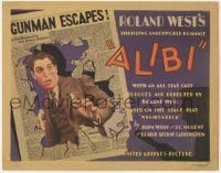 5b017 ALIBI TC 1929 Chester Morris uses his girlfriend to escape murder charges, newspaper art!