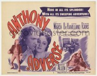 5b027 ANTHONY ADVERSE TC R1956 great close up of Fredric March & pretty Olivia De Havilland!