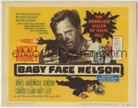 5b035 BABY FACE NELSON TC 1957 art of Public Enemy No. 1 Mickey Rooney firing Tommygun!