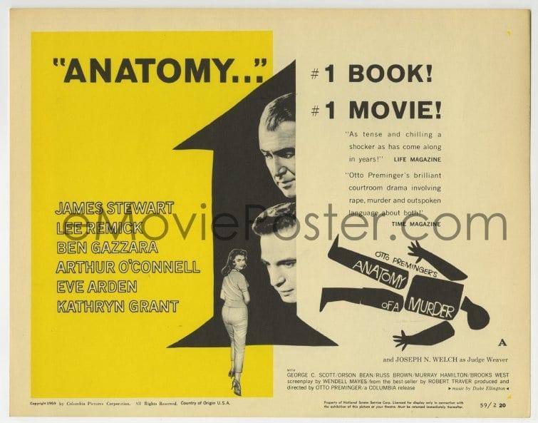 Emovieposter 5b002 Anatomy Of A Murder Style A Tc 1959 Otto