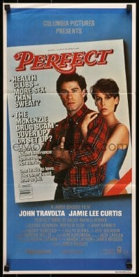 5c844 PERFECT Aust daybill 1985 sexy Jamie Lee Curtis & John Travolta, cool red title design!