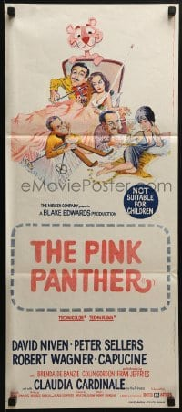 5c849 PINK PANTHER Aust daybill 1964 wacky art of Peter Sellers & David Niven by Jack Rickard!