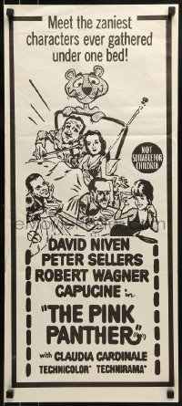 5c850 PINK PANTHER Aust daybill R1960s wacky art of Peter Sellers & David Niven!