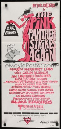 5c851 PINK PANTHER STRIKES AGAIN Aust daybill 1976 Peter Sellers is Inspector Jacques Clouseau!