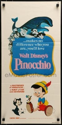 5c853 PINOCCHIO Aust daybill R1982 Disney classic cartoon about a wooden boy who wants to be real!