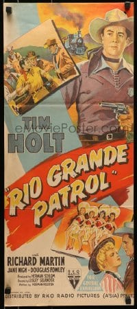 5c870 RIO GRANDE PATROL Aust daybill 1950 great artwork of Tim Holt holding rifle by train!