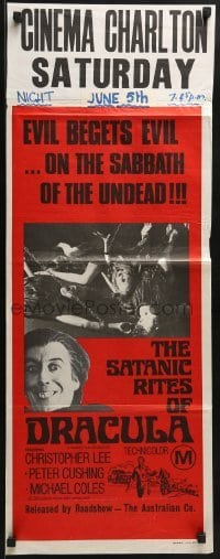 5c881 SATANIC RITES OF DRACULA Aust daybill 1974 vampire Christopher Lee & his chained brides!