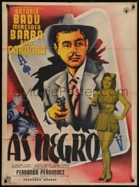 5c050 AS NEGRO Mexican poster 1954 cool art of Antonio Badu bursting out from ace of spades!