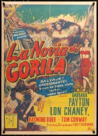 5c052 BRIDE OF THE GORILLA Mexican poster 1951 wild artwork of Barbara Payton & huge ape!