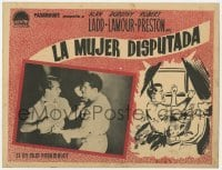 5c029 WILD HARVEST Spanish LC 1947 both gambling art and image of Alan Ladd punching guys!