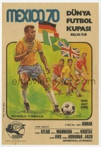 5c049 FUTBOL MEXICO 70 Turkish 7x10 1970 completely different soccer football futbol art of Pele!