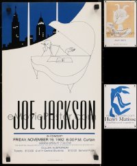 5d006 LOT OF 3 UNFOLDED POSTERS MOUNTED ON FOAMCORE 1980s Joe Jackson, Henri Matisse, Picasso!