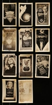 5d020 LOT OF 11 3X5 LOCAL THEATER POSTER PHOTOS 1920s-1930s elaborate homemade advertising!