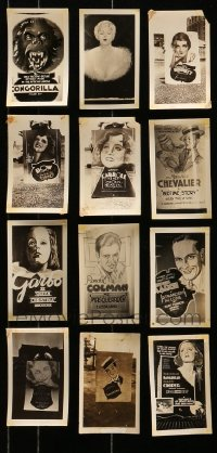 5d021 LOT OF 12 3X5 LOCAL THEATER POSTER PHOTOS 1920s-1930s elaborate homemade advertising!