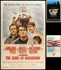 5d004 LOT OF 3 WAR ONE-SHEETS MOUNTED TO FOAMCORE 1960s-1980s Platoon, Guns of Navarone, Patton!